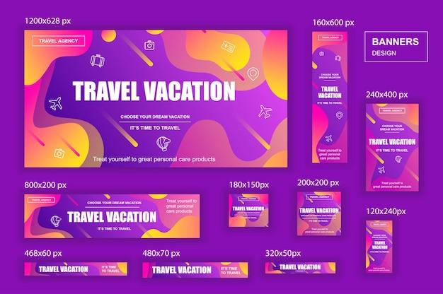 Coleção de banners de redes sociais em tamanhos diferentes para anúncios de agências de viagens