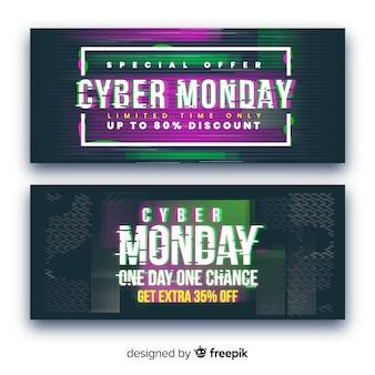 Coleção de banners de segunda-feira cyber falha