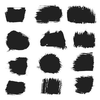 Coleção de banners de textura de manchas de respingo de tinta preta.