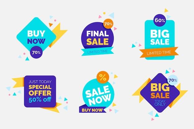 Coleção de banners de venda colorida
