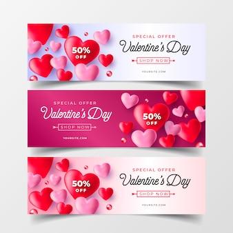 Coleção de banners de venda de dia dos namorados realista