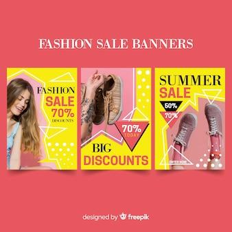 Coleção de banners de venda de moda