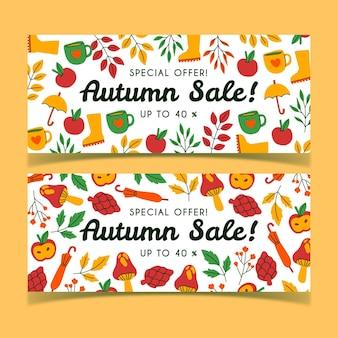 Coleção de banners de venda de outono desenhada à mão