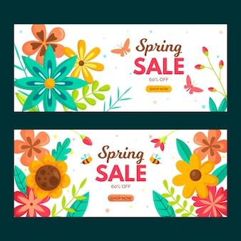 Coleção de banners de venda de primavera de design plano