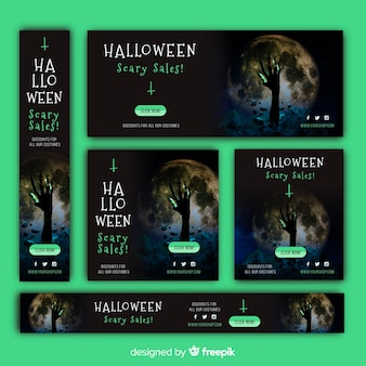 Coleção de banners de venda de web de halloween com imagem