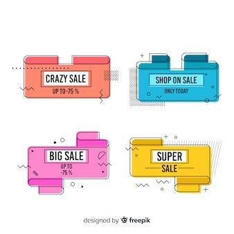 Coleção de banners de venda estilo memphis