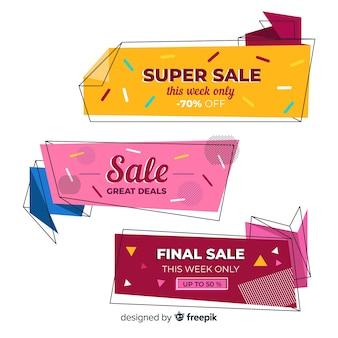 Coleção de banners de venda origami abstrata