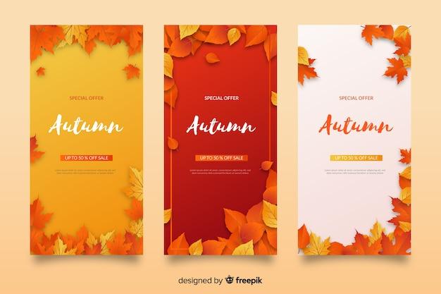 Coleção de banners de venda outono design plano