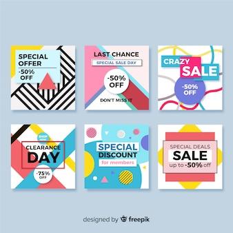 Coleção de banners de venda para mídias sociais