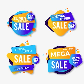 Coleção de banners de vendas coloridas