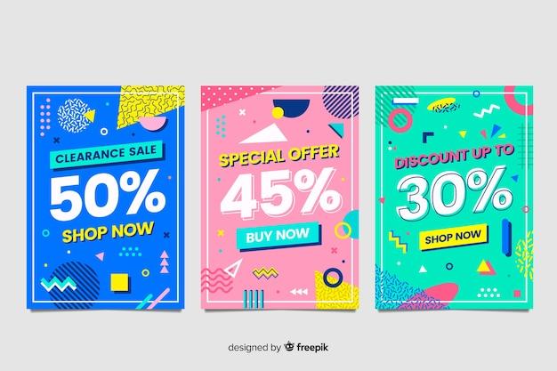 Coleção de banners de vendas de memphis