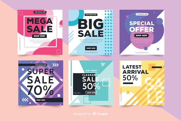 Coleção de banners de vendas de mídia social de moda