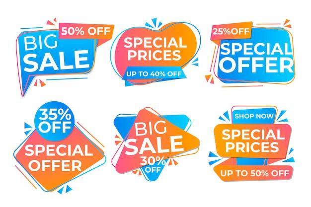 Coleção de banners de vendas em design plano
