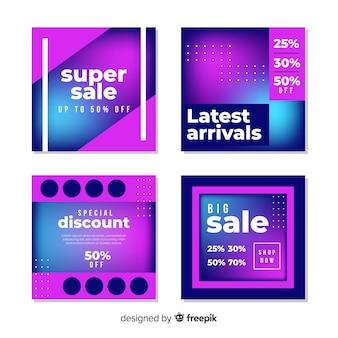 Coleção de banners de vendas modernas para mídias sociais