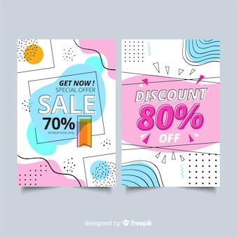 Coleção de banners de vendas no estilo de memphis