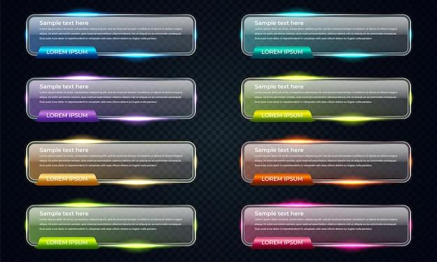 Coleção de banners de vidro brilhante colorido de vetor