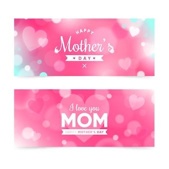 Coleção de banners do dia das mães turva