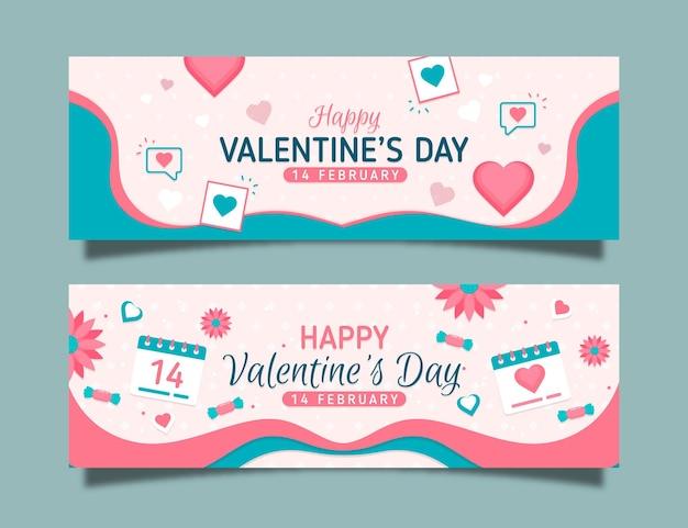 Coleção de banners do dia dos namorados