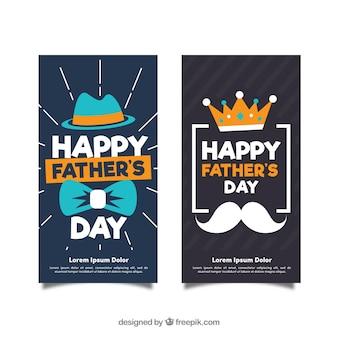 Coleção de banners do dia dos pais com acessórios