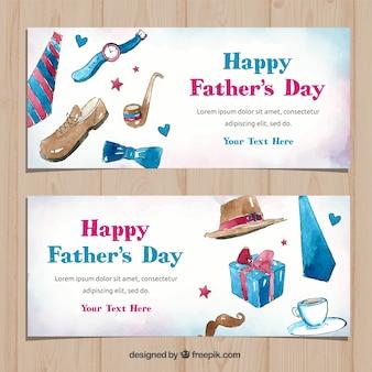 Coleção de banners do dia dos pais com caixa de presentes em estilo aquarela