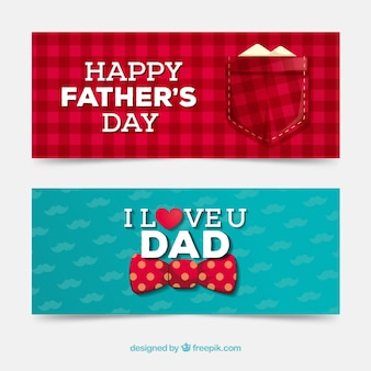 Coleção de banners do dia dos pais com camisa e gravata borboleta