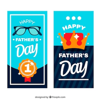 Coleção de banners do dia dos pais com coroa e prêmio