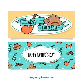 Coleção de banners do dia dos pais com elementos de roupas