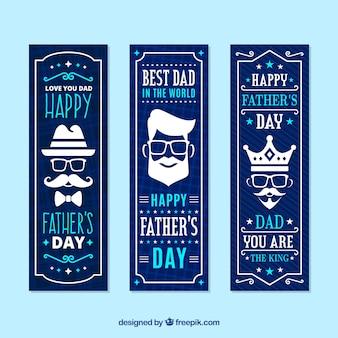 Coleção de banners do dia dos pais com rostos diferentes