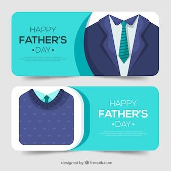 Coleção de banners do dia dos pais com roupas azuis