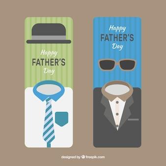 Coleção de banners do dia dos pais com roupas diferentes