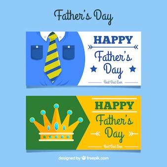 Coleção de banners do dia dos pais com roupas e coroa