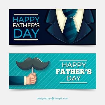 Coleção de banners do dia dos pais com terno e bigode