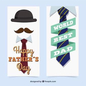 Coleção de banners do dia dos pais com ternos