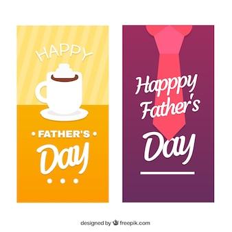 Coleção de banners do dia dos pais com xícara de café e gravata