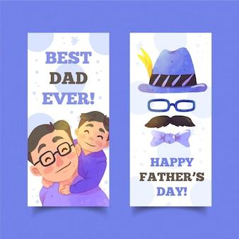 Coleção de banners do dia dos pais em aquarela