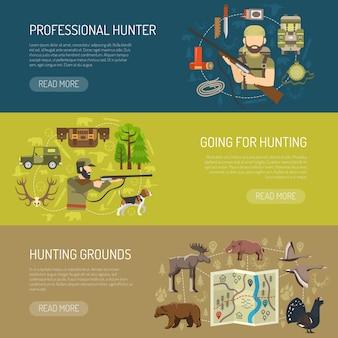 Coleção de banners horizontais de caça