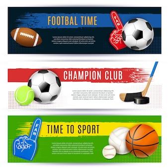 Coleção de banners horizontais de esporte