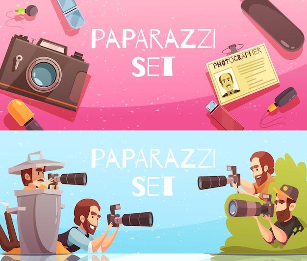 Coleção de banners horizontais de paparazzi