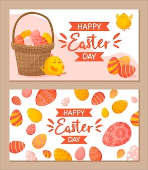 Coleção de banners horizontais de páscoa com ovos coloridos decorados, cesta com ovos e galinhas.
