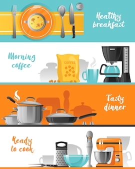 Coleção de banners horizontais de utensílios de cozinha