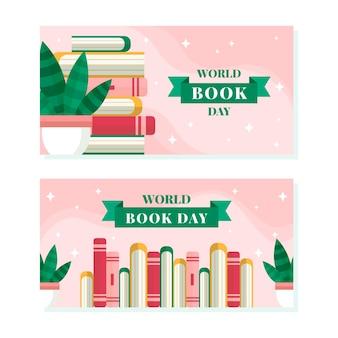 Coleção de banners horizontais do dia mundial do livro
