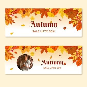 Coleção de banners horizontais no meio do outono