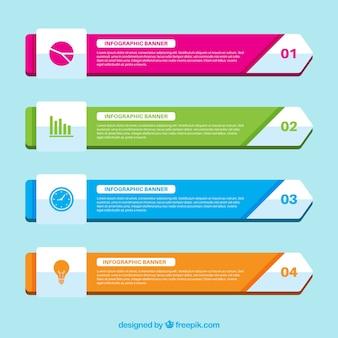 Coleção de banners infográficos coloridos