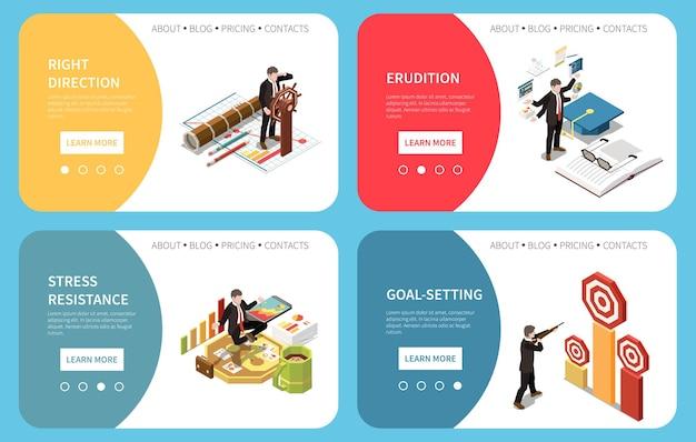 Coleção de banners isométricos de liderança com pessoas com gráficos