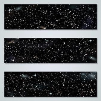 Coleção de banners panorâmicos horizontal de noite estrelada