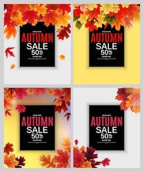 Coleção de banners para venda de folhas de outono brilhantes