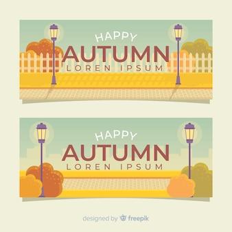 Coleção de banners planas de outono
