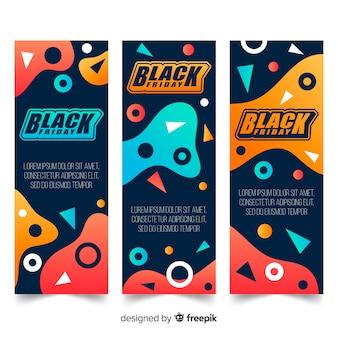 Coleção de banners pretos de sexta-feira