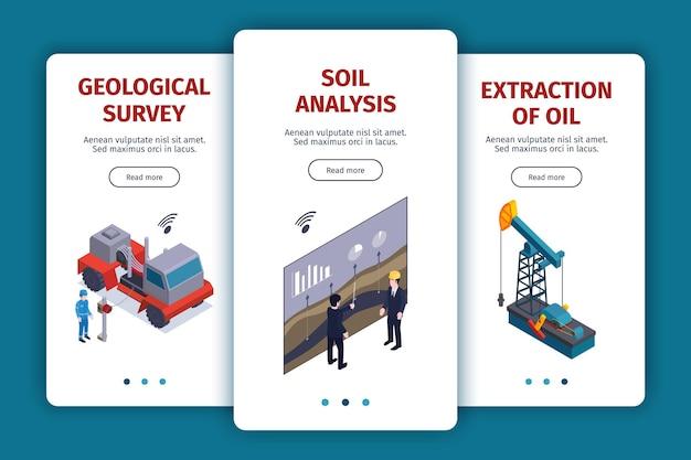 Coleção de banners verticais da indústria de petróleo isométrica com texto de botões de mudança de página e imagens de ilustração de instalações de planta,