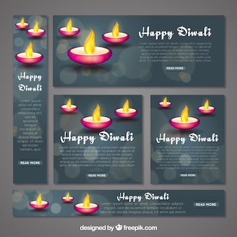 Coleção de banners web de diwali feliz